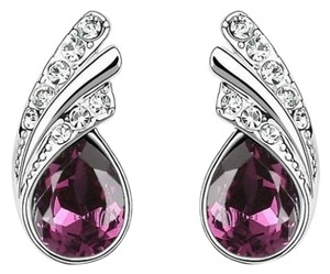 NEW! STUNNING!!! 9K White Gold and Purple CZ Stud Earrings FREE SHIPPING