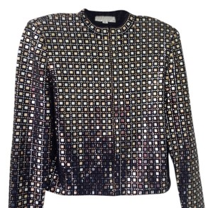 St. John Gold And Silver Pallettes Knit Black Jacket