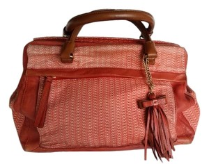 Nanette Lepore Leather Woven Satchel in Paprika