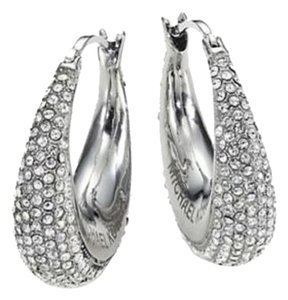 Michael Kors MKJ3902 Michael Kors Brilliance Statement Wide Hoops Earrings Silver Tone W/ Crystals