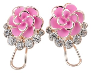 NEW! Pink Crystal Flower Stud Earrings FREE SHIPPING