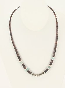 Heishi Brown White Graduated Stone Silvertone Turquoise Necklace Bj06