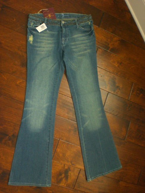 7 For All Mankind Distressed Citizen Of Humanity Joe's Boot Cut Jeans-Medium Wash