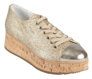 Prada Glitter Cork Sneakers Street Style Sparkle Sport Sport Gold Athletic