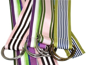 J.Crew J. CREW Belt Striped Grosgrain Ribbon D-Ring MultiColor J.Crew Medium Large