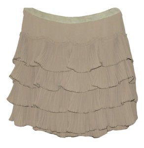 Miss Me Pleated Ruffle Tiers A-line Mini Skirt Beige/Taupe