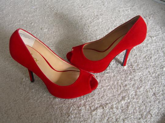 Other Open Toed Vintage Inspired Pin Up Red Pumps