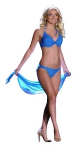 Lady Marlene Lady M Pageant Swimsuit size S turquoise Blue with rhinestone circles