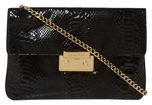 Michael by Michael Kors Python Leather Gold Hardware Chain Black Clutch