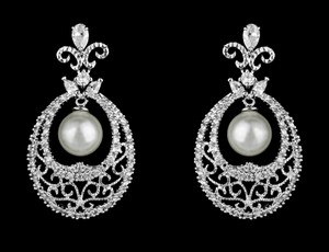 Scroll Marquis Cz And Pearl Drop Bridal Earring