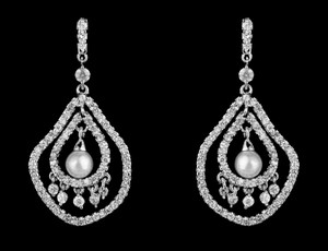 Pave Cz And Pearl Dangle Bridal Earring