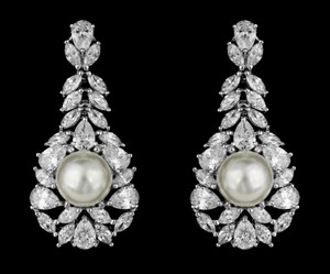 Pear And Marquis Cz And Pearl Bridal Earring