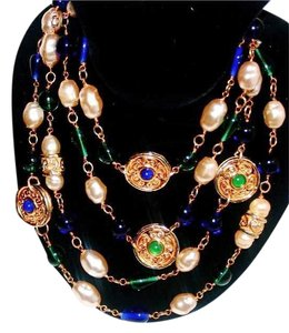 Chanel Vintage CHANEL GRIPOIX Blue*Green*Pearl Gold NECKLACE / 68
