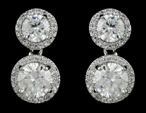 Highest Quality Round Cz Drop Bridal Earrings