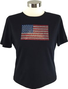 St. John Short Sleeve Swarovski Flag T Shirt Black