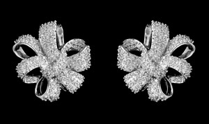 Best Quality Cz Stud Bridal Ribbon Earrings
