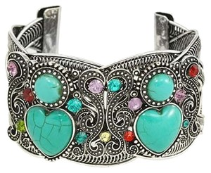 Boho Chic Antique Silver Turquoise Stones Rhinestone Crystal Accent Tribal Cuff Bracelet