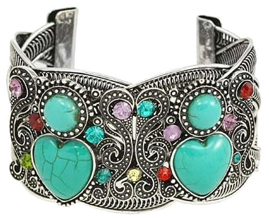 Preload https://img-static.tradesy.com/item/6667267/antique-silver-boho-chic-turquoise-stones-rhinestone-crystal-accent-tribal-cuff-bracelet-0-1-540-540.jpg