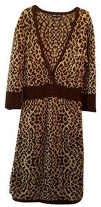 Wet Seal short dress Brown/ white leopard print Sweater Cozy on Tradesy