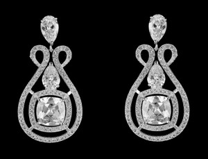 Highest Quality Unique Cz Scroll Bridal Earrings