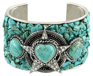 Other Boho Chic Silver Turquoise Semiprecious Natural Gemstone Rhinestone Crystal Accent Tribal Cuff Bracelet
