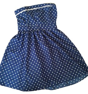 Feathers short dress Blue and white polka dot on Tradesy