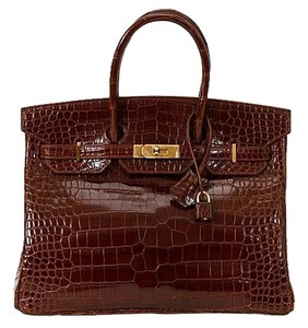 Hermès Crocodile Croc Tote in Brown