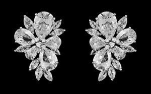 Highest Quality Cz Fan Stud Bridal Earrings