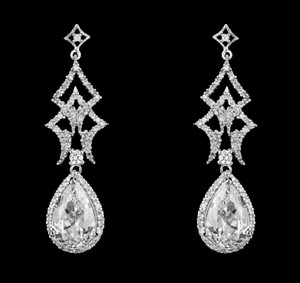 Unique Cz Drop Bridal Earrings