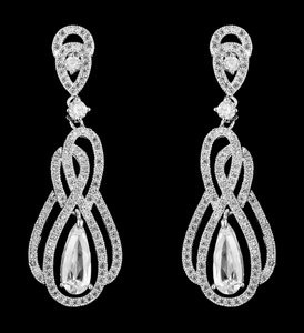 Linear Cz Drop Bridal Earrings