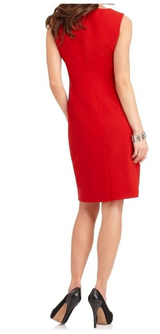 Calvin Klein short dress Red Back Vent Radiating Pleats Hidden Back-zip on Tradesy