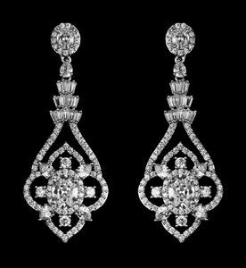 Highest Quality Cz Drop Statement Bridal Earrings