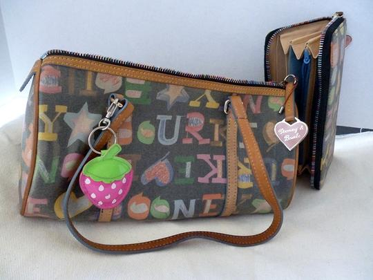 Dooney & Bourke Bowling Satchel in Back with multi hearts and wallet
