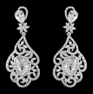 Highest Quality Cz Drop Vintage Statement Bridal Earrings
