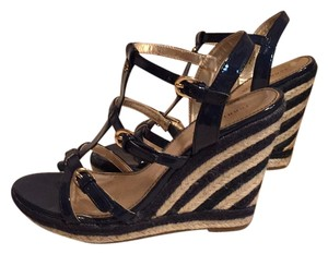 Tommy Hilfiger Navy blue and beige stripes Wedges
