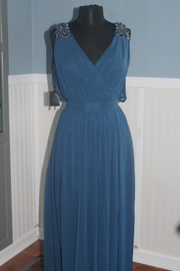 Pronovias Azul Blue Chiffon #5033- Mother Of The Occassion/Formal Gown-size Formal Bridesmaid/Mob Dress Size 8 (M)