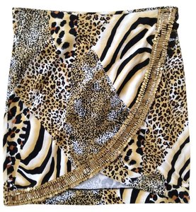 Joyous & Free Tiger Animal Print Beaded Mini Skirt