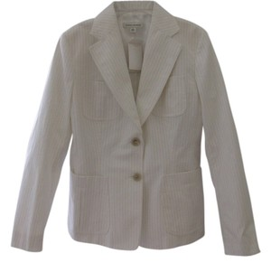 Banana Republic White Pinstripe Blazer