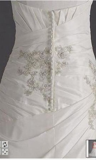 David's Bridal Ivory Taffeta Style T9579 Traditional Wedding Dress Size 12 (L)
