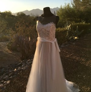 Ivory/Bronze Soft Tulle; Polyester Lining Penelope Gown By Feminine Wedding Dress Size 14 (L)