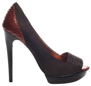 Pelle Moda Platform Animal Print Leather Stiletto Open Toe Brown Pumps