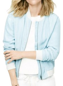 Ann Taylor LOFT Chambray Bomber Light Blue Womens Jean Jacket