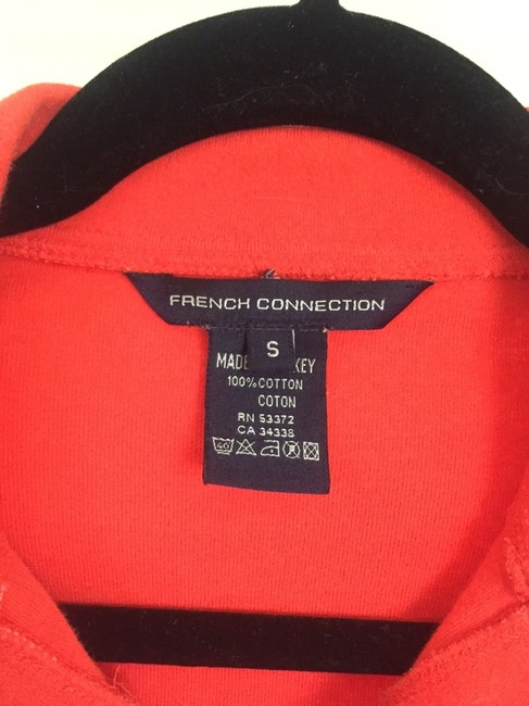 French Connection Sexy Snap-front Polo Fitted Cropped Button Down Shirt Orange