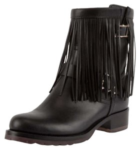 Valentino Fringe Leather Fringe Black Boots