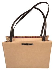 Kate Spade Tote in Linen with Adorable Plaid Interior