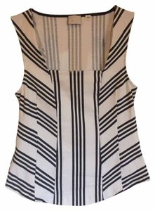 Anthropologie Stripes Peplum Fitted Top Black/White