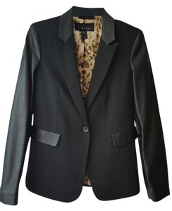 Mango Faux Leather Black Blazer