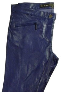 Barbara Bui Leather Straight Pants Cobalt Blue