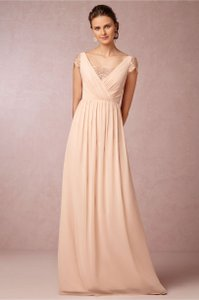 Jenny Yoo Blush Polyester with Gold Metallic Lace Detailing Evangeline Feminine Bridesmaid/Mob Dress Size 6 (S)