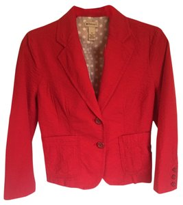 Elevenses Seer-sucker Red Blazer